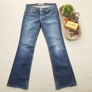 J Brand bootcut dark wash distressed denim jeans